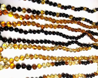 Genuine baltic amber adult necklace 17-20in / 45-50cm selection of colors