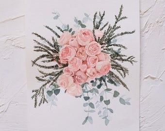 Custom Wedding Bouquet Art, Original A4 Watercolour Artwork