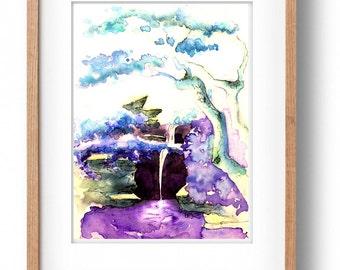 Brooklyn Botanic Garden, Watercolor Illustration, Botanical Illustration, Waterfall, Watercolor Painting, Brooklyn, NYC, Japanese Garden