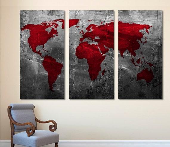 3 Panel Split Art World Map Canvas Print Triptych For: Abstract Deep Red World Map Canvas Print Wall Art 3 Panel