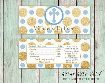 Blue Gold Glitter Baptism Candy Bar Wrapper - Printable Candy Bar Wrapper for Boy Christening Baptism Candy Favor Label Communion Candy Wrap