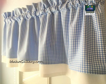 Gingham Check Periwinkle Blue and White Country Curtain Modern Double Layered Kitchen Curtain Short Valance Farmhouse Curtain