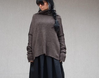 Oversized sweater, loose fashion sweater, women's sweaters, casual handmade sweater, oversized long loose wool sweater, plus size