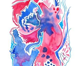 Watercolor abstract original painting, modern design, watercolor wall art, bright watercolor painting, fuchsia, magenta, & cobalt blue