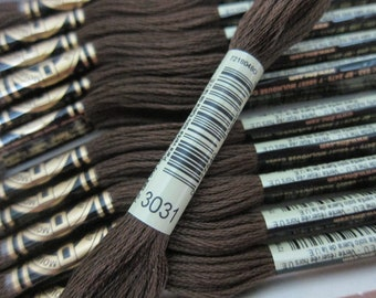 Very Dark Mocha Brown #3031, DMC Cotton Embroidery Floss - 8m Skeins - Available in Single Skeins, Larger Pkgs & Full (12-skein) Boxes