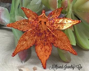 Japanese Maple Leaf Pendant, Copper Dipped Maple Leaf Pendant, Copper Maple Leaf, Leaf Pendant, Nature Pendant, PC2702