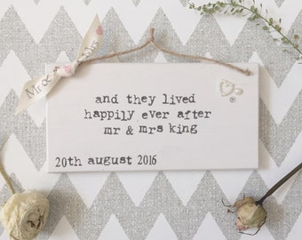 Wedding happily ever after plaque /gift/  wall hanging