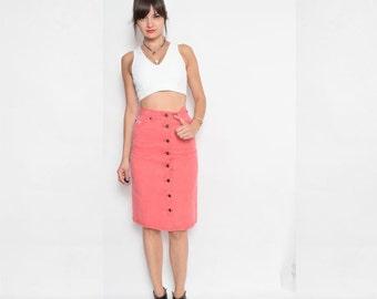 Vintage 90's Red Denim Button Skirt / High Waist Button Midi Skirt / Red Denim Skirt - Size Extra Small