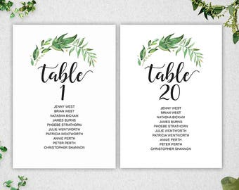 Wedding seating chart template instant download editable for Bridal shower seating chart template