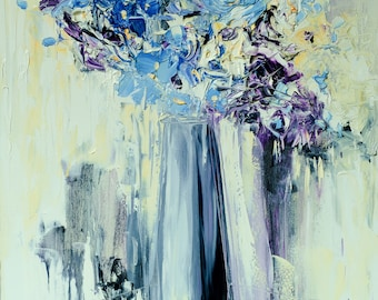 Abstract Flowers Blue and White Flowers Vase oil painting