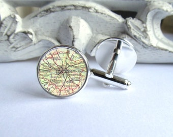 London Map Cufflinks, Custom Vintage Map Cufflinks, Personalized With Destination Of Your Choice