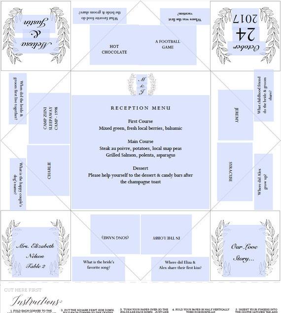 Printable Wedding Program/Menu/Escort Card Cootie