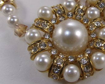 "18 1/2"" Vintage faux pearls, Swarovski pearls, and sparkling rhinestone Bride or Mother-of-the-Bride necklace"