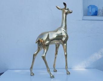Overscale  Solid Brass Deer Decorative Floor Sculpture .