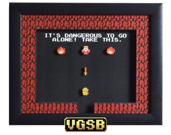 Legend of Zelda Shadowbox - Take This - NES - Nintendo - 3D Shadow Box Glass Frame - 12x10 - Groomsmen Gift - Shadowbox Art