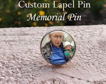 Custom Photo Lapel Pin, Your photo Lapel Pin - Wedding lapel pin - Memorial lapel pin - Your Photo on a lapel pin - 1 inch lapel pin
