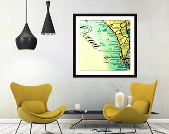Mid Century San Diego Map, Unique California gifts