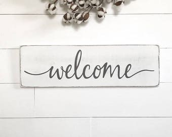 "Welcome sign | wood sign | entryway sign | entryway decor | wooden welcome sign | rustic wooden sign | 24""x 7.25"""