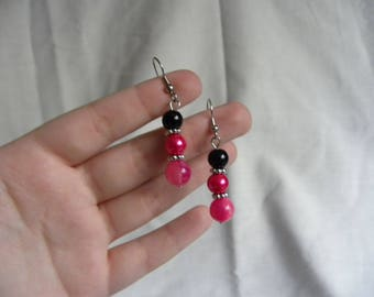 Hot Pink and Black Dangle Earrings