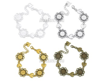 12mm Round Bezel Bracelet Blanks Forms fit 12mm Round Cabochons, Marbles, Resin, Buttons, Etc  5 PCS M152