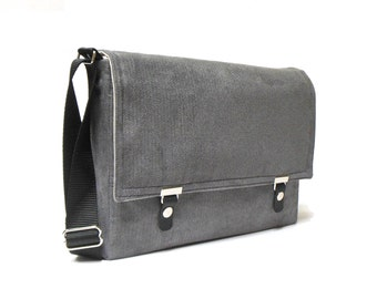 "11"" / 13"" MacBook Air messenger bag - gray herringbone"