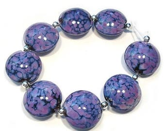 Spring Fling Sale Small Purple Rose Lentils, Handmade Glass  Lampwork  Beads