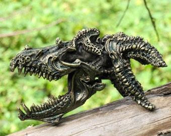 Dragon skull realistic fantasy creature bronze