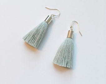 Mini-tassel earrings made with mint cotton fiber. Made with cotton fiber and silver 925 hook. Tassel earrings. Simple, delicate and minimal