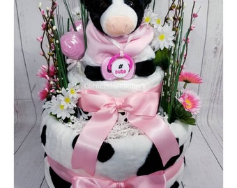 Cow Diaper Cake| Cow Baby Gift| Diaper Cake| Baby Gift| Baby Shower Centerpiece| Baby Girl Gift| Farm Animal Diaper Cake| Centerpiece| Gift