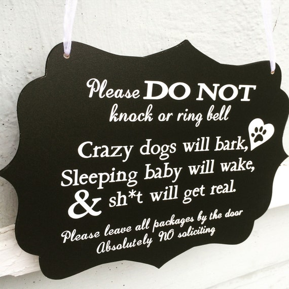 Sleeping Baby Sign Barking Dogs Sign Do Not Knock Sign