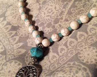 Howlite Tree of Life 54 bead Meditation Mala