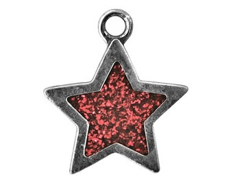 Danforth Red Star 7/8 inch ( 23 mm ) Pewter Charm Pendant