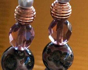 Purple Haze Jasper Earrings in bright copper ear wires