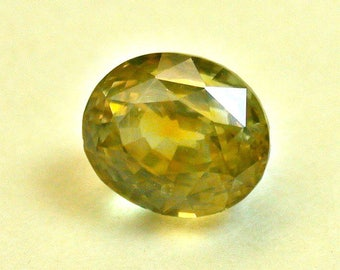 VINTAGE Yellow Rock Creek MONTANA SAPPHIRE Faceted Loose Gemstone oval 2.10 cts fg172
