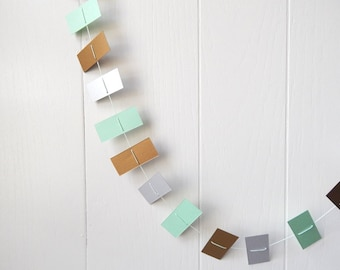 Rectangle Garland in Mint Silver and Gold