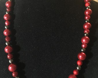 Grey and Red Necklace.