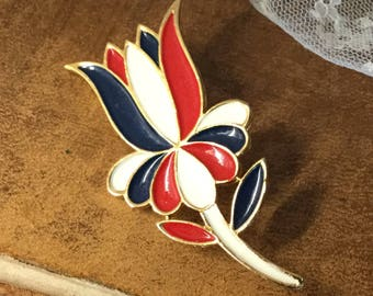 Playful Red White Blue Enamel Flower Brooch Pin Unsigned 1980's 1990's Gold Tone Setting Animated Tulip Design Patriotic Colours Bright Bold