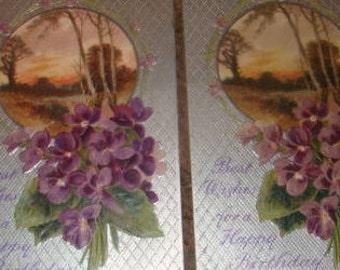 2 Pretty Vintage Sceanic/Floral Postcards (Violets)