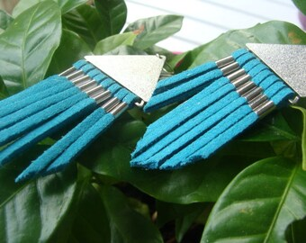 Contemporary earrings, leather and silver metal