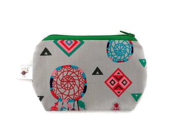 Mini Zipper Pouch Dreamcatchers & Feathers Coin Purse / Stitch Marker Pouch / Notions Pouch / Small Scissor Case S353