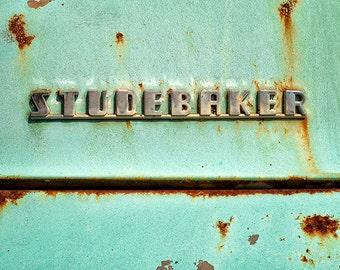 Truck Photography, Vintage Studebaker Emblem, Antique Vehicle, Old Car Insignia, Rustic Art Print, Brown, Teal, Automotive  - Studebaker