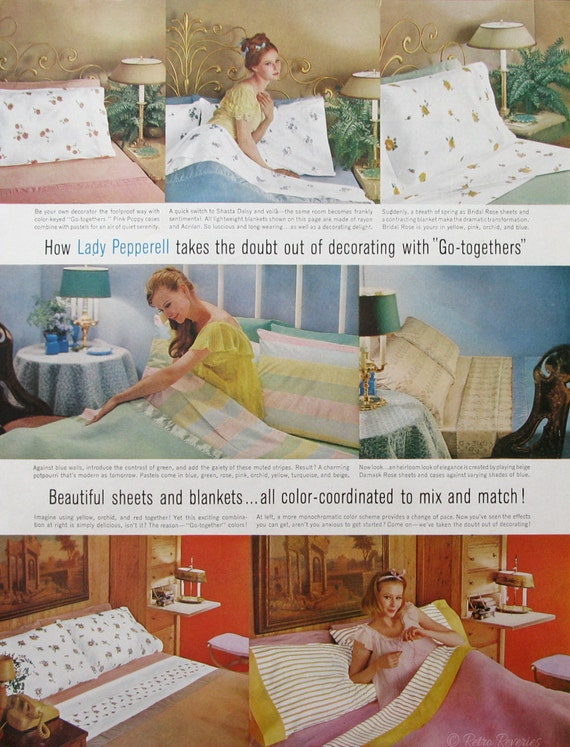 1961 Lady Pepperell Patterned Sheets Ad   Vintage 1960s Bedroom Decor  Advertising