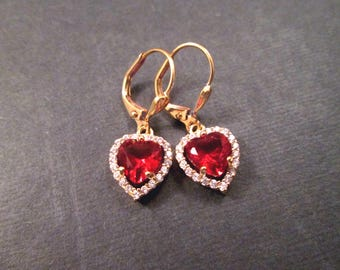 Cubic Zirconia Earrings, Cranberry Red and White Hearts, Gold Dangle Earrings, FREE Shipping U.S.