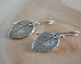 Silver Leaf Earrings / Leaf Earrings / Sterling Silver Earrings / Rustic Earrings / Rustic Earrings / Flower Petal Earring / Leaf Jewelry