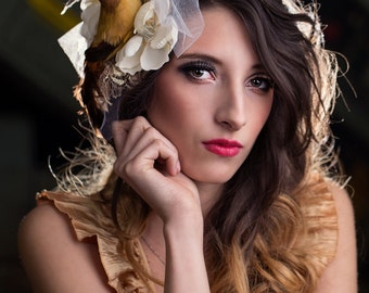 upcycled fashion, sustainable fashion, fascinator . birdie told me . gold