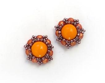 Vintage style orange studs, Tangerine Orange Earrings, Handmade Earrings, Beaded Jewelry, Bridesmaids Gift, Hand Embroidered