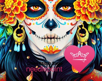 Day of the Dead cross stitch pattern - Floral cross stitch - Halloween design - Cross stitch woman - Large cross stitch chart - PDF CSS file