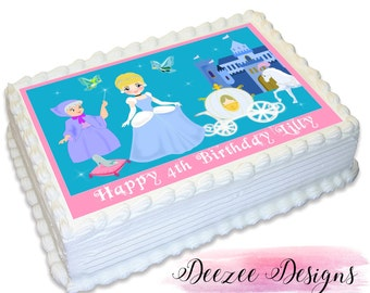 Cinderella Personalised A4 Edible Icing Cake Topper
