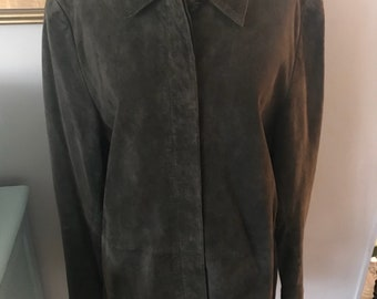 VALERIE STEVENS Vintage Jacket Dark Taupe Silky Suede Womens Large Cozy Soft Fall Fashion
