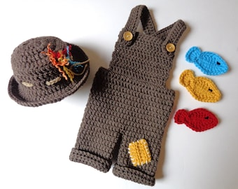 Newborn Crochet Fisherman Hat and Overalls with 3 Fish Any Color Available Baby Boy Baby Girl Knit Hat Photo prop Fisherman Cap Fishing